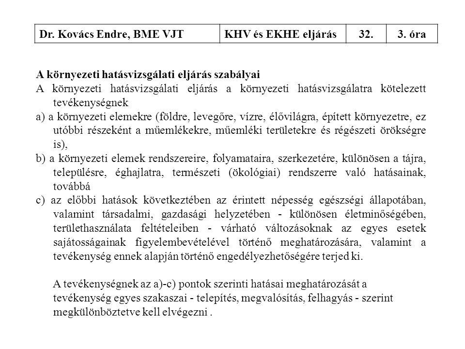 Dr. Kovács Endre, BME VJTKHV és EKHE eljárás32.3. óra A környezeti hatásvizsgálati eljárás szabályai A környezeti hatásvizsgálati eljárás a környezeti
