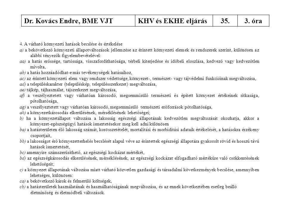 Dr. Kovács Endre, BME VJTKHV és EKHE eljárás35.3. óra 4. A várható környezeti hatások becslése és értékelése a) a bekövetkező környezeti állapotváltoz