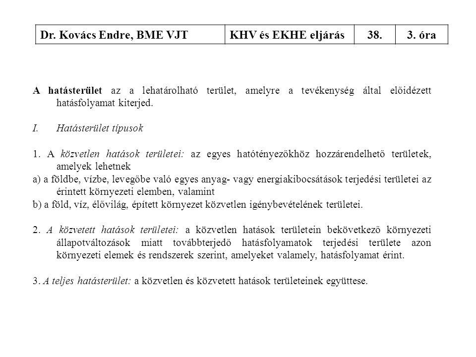 Dr. Kovács Endre, BME VJTKHV és EKHE eljárás38.3. óra A hatásterület az a lehatárolható terület, amelyre a tevékenység által előidézett hatásfolyamat
