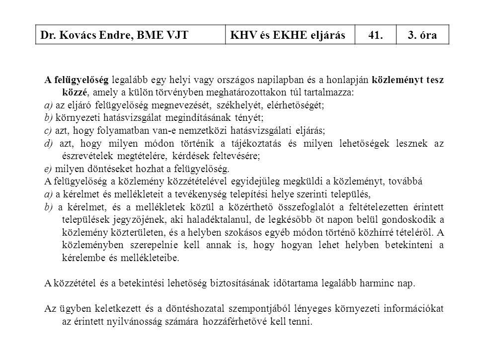 Dr. Kovács Endre, BME VJTKHV és EKHE eljárás41.3. óra A felügyelőség legalább egy helyi vagy országos napilapban és a honlapján közleményt tesz közzé,