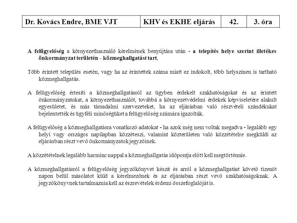 Dr. Kovács Endre, BME VJTKHV és EKHE eljárás42.3. óra A felügyelőség a környezethasználó kérelmének benyújtása után - a telepítés helye szerint illeté