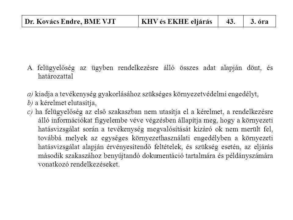 Dr. Kovács Endre, BME VJTKHV és EKHE eljárás43.3. óra A felügyelőség az ügyben rendelkezésre álló összes adat alapján dönt, és határozattal a) kiadja