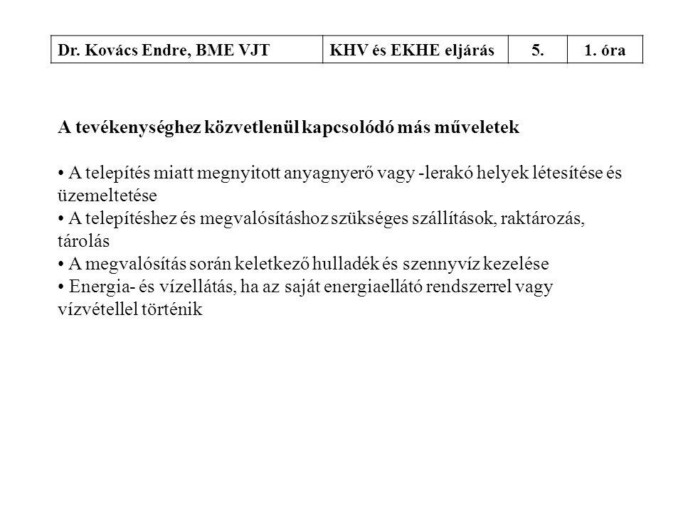 Dr. Kovács Endre, BME VJTKHV és EKHE eljárás5.1. óra A tevékenységhez közvetlenül kapcsolódó más műveletek • A telepítés miatt megnyitott anyagnyerő v