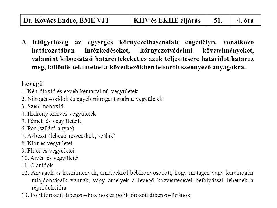 Dr. Kovács Endre, BME VJTKHV és EKHE eljárás51.4. óra A felügyelőség az egységes környezethasználati engedélyre vonatkozó határozatában intézkedéseket