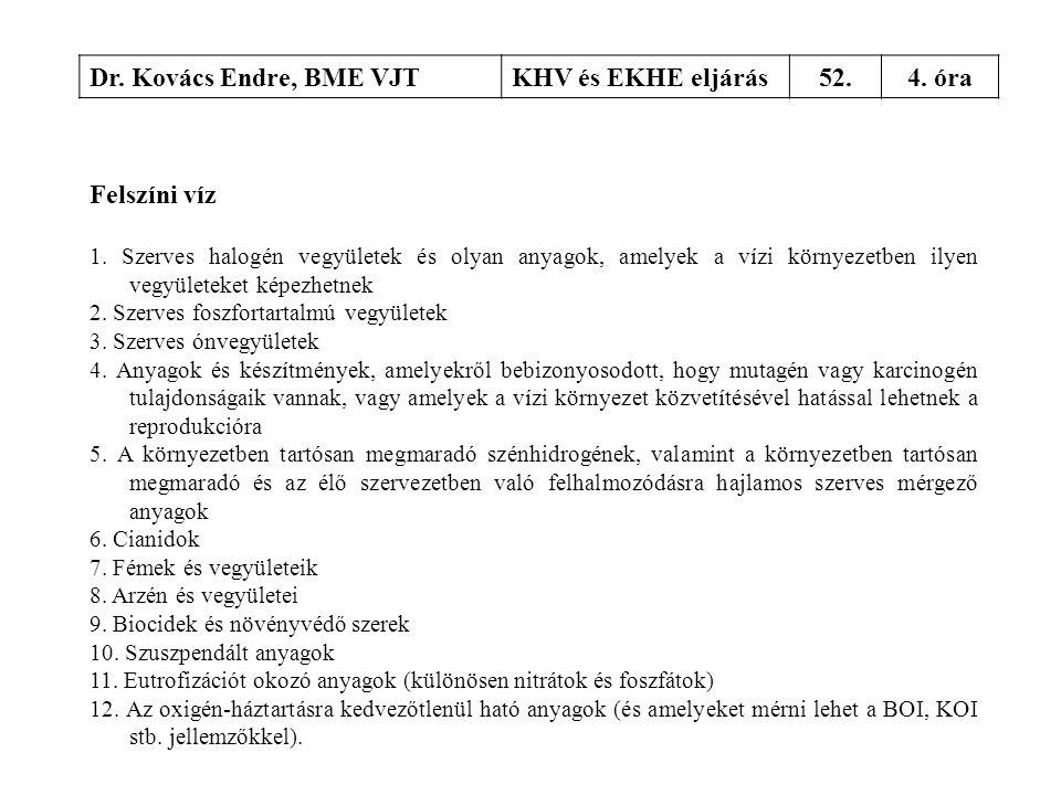 Dr. Kovács Endre, BME VJTKHV és EKHE eljárás52.4. óra Felszíni víz 1. Szerves halogén vegyületek és olyan anyagok, amelyek a vízi környezetben ilyen v