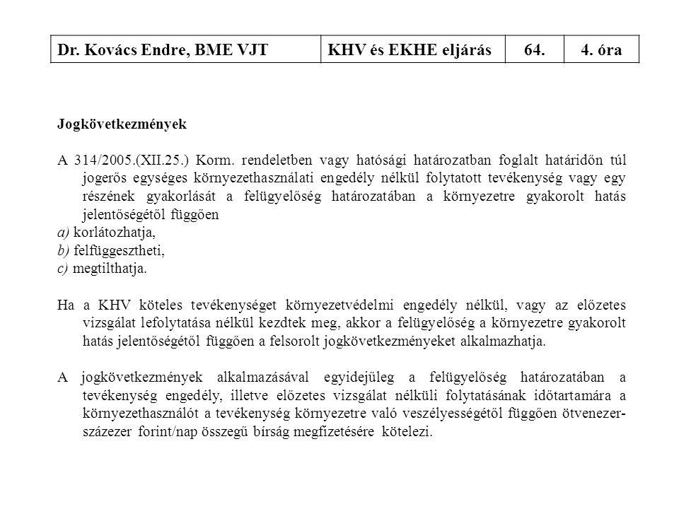 Dr. Kovács Endre, BME VJTKHV és EKHE eljárás64.4. óra Jogkövetkezmények A 314/2005.(XII.25.) Korm. rendeletben vagy hatósági határozatban foglalt hatá