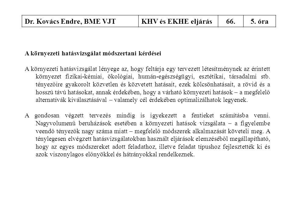 Dr. Kovács Endre, BME VJTKHV és EKHE eljárás66.5. óra A környezeti hatásvizsgálat módszertani kérdései A környezeti hatásvizsgálat lényege az, hogy fe