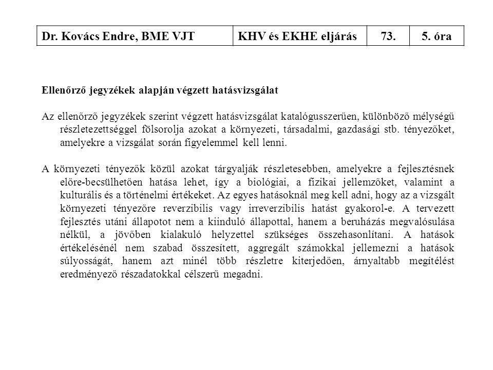 Dr. Kovács Endre, BME VJTKHV és EKHE eljárás73.5. óra Ellenőrző jegyzékek alapján végzett hatásvizsgálat Az ellenőrző jegyzékek szerint végzett hatásv