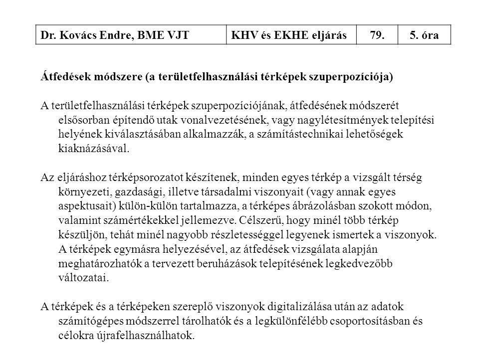 Dr. Kovács Endre, BME VJTKHV és EKHE eljárás79.5. óra Átfedések módszere (a területfelhasználási térképek szuperpozíciója) A területfelhasználási térk