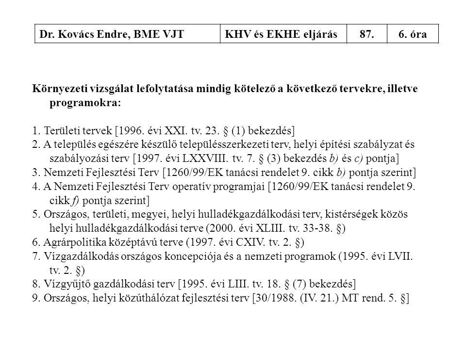 Dr. Kovács Endre, BME VJTKHV és EKHE eljárás87.6. óra Környezeti vizsgálat lefolytatása mindig kötelező a következő tervekre, illetve programokra: 1.
