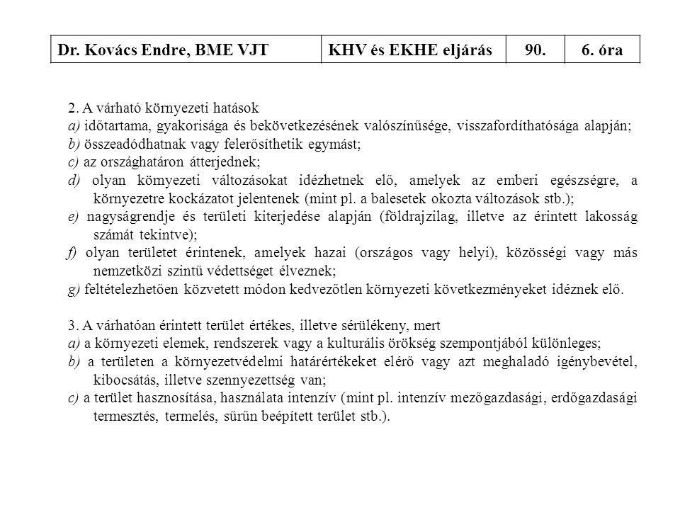 Dr. Kovács Endre, BME VJTKHV és EKHE eljárás90.6. óra 2. A várható környezeti hatások a) időtartama, gyakorisága és bekövetkezésének valószínűsége, vi