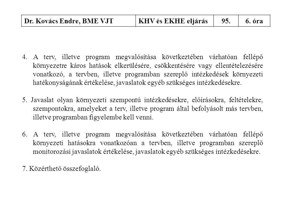 Dr. Kovács Endre, BME VJTKHV és EKHE eljárás95.6. óra 4. A terv, illetve program megvalósítása következtében várhatóan fellépő környezetre káros hatás