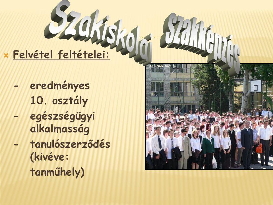  Felvétel feltételei: - eredményes 10. osztály -egészségügyi alkalmasság - tanulószerződés (kivéve: tanműhely)