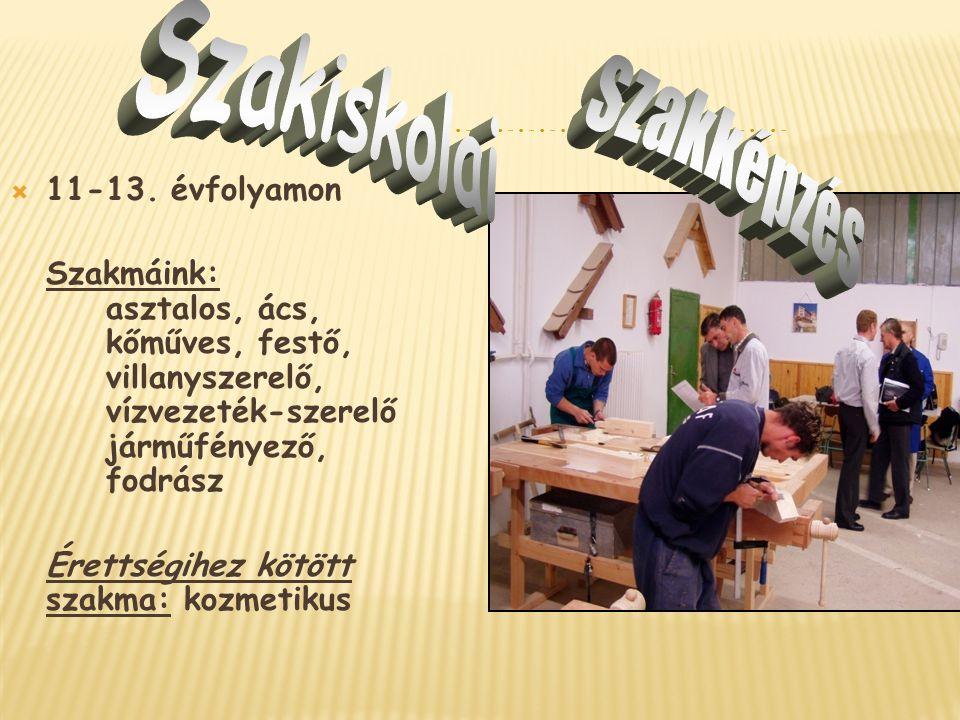 11-13. évfolyamon Szakmáink: asztalos, ács, kőműves, festő, villanyszerelő, vízvezeték-szerelő járműfényező, fodrász Érettségihez kötött szakma: koz