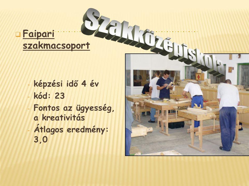  Faipari szakmacsoport - képzési idő 4 év - kód: 23 - Fontos az ügyesség, a kreativitás - Átlagos eredmény: 3,0
