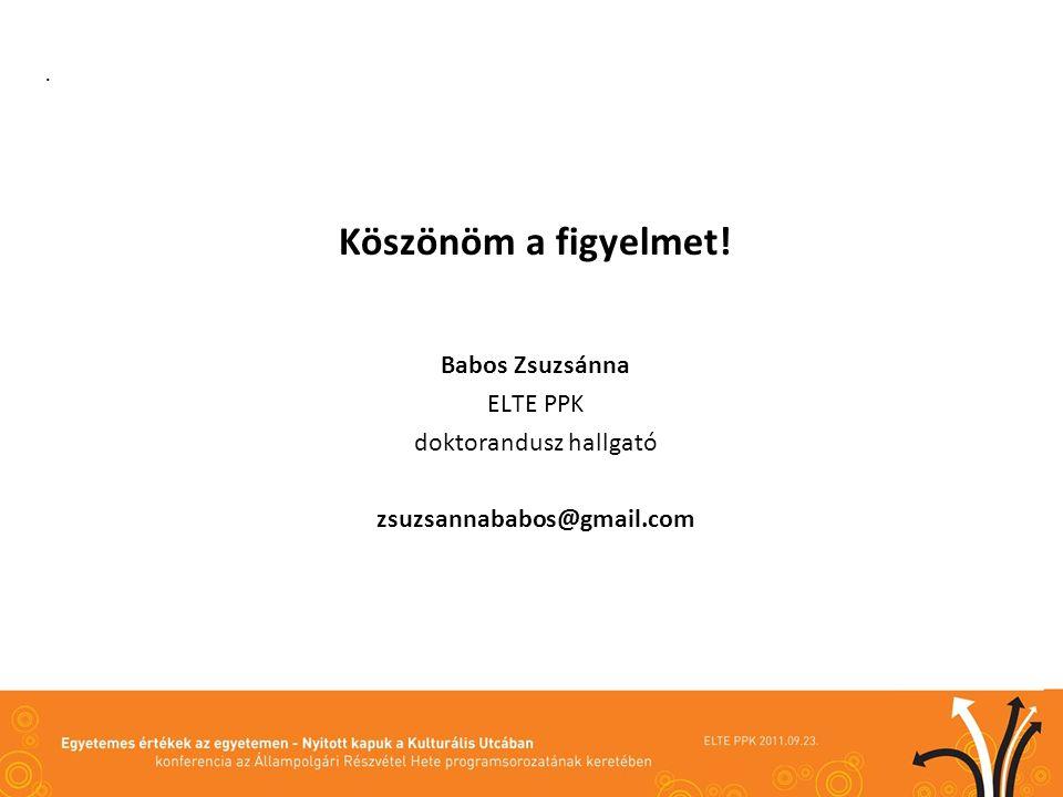 . Köszönöm a figyelmet! Babos Zsuzsánna ELTE PPK doktorandusz hallgató zsuzsannababos@gmail.com