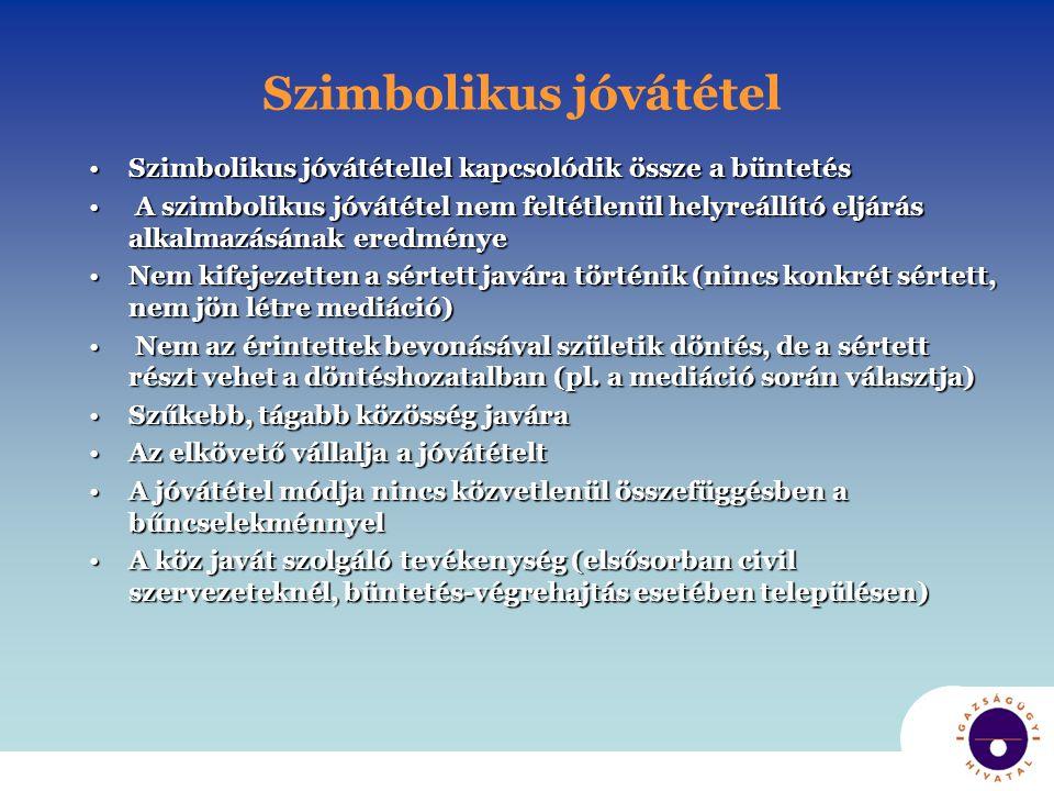 Szimbolikus jóvátétel •Szimbolikus jóvátétellel kapcsolódik össze a büntetés • A szimbolikus jóvátétel nem feltétlenül helyreállító eljárás alkalmazás