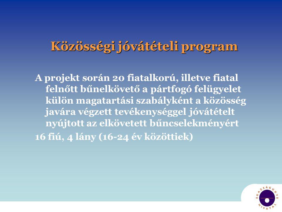 Közösségi jóvátételi program A projekt során 20 fiatalkorú, illetve fiatal felnőtt bűnelkövető a pártfogó felügyelet külön magatartási szabályként a k