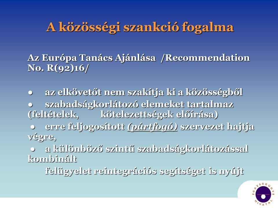 A közösségi szankció fogalma Az Európa Tanács Ajánlása /Recommendation No. R(92)16/ ● az elkövetőt nem szakítja ki a közösségből ● szabadságkorlátozó