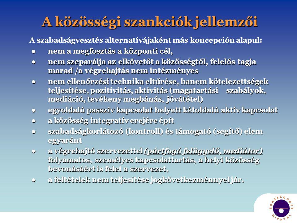 A közösségi szankciók jellemzői A szabadságvesztés alternatívájaként más koncepción alapul: ● nem a megfosztás a központi cél, ● nem a megfosztás a kö