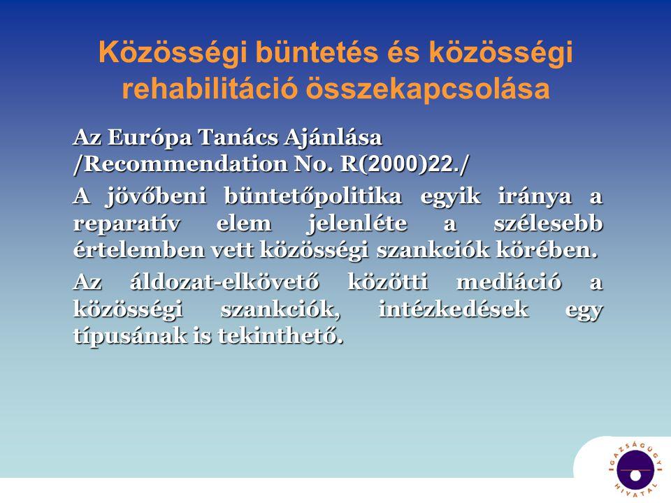 Közösségi kötelezések • Ingyenes munkavégzés • Speciális tevékenységek folytatása (lehet reparációs cél is) • Programokon részvétel • Egészségügyi (drog, alkohol) rehabilitáció • Segítő-központ látogatása • Cselekvési terv teljesítése • Meghatározott tevékenységektől, helyektől tiltás