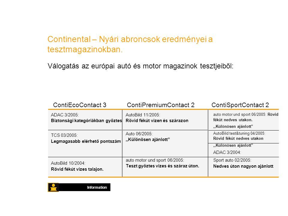 Continental – Nyári abroncsok eredményei a tesztmagazinokban.