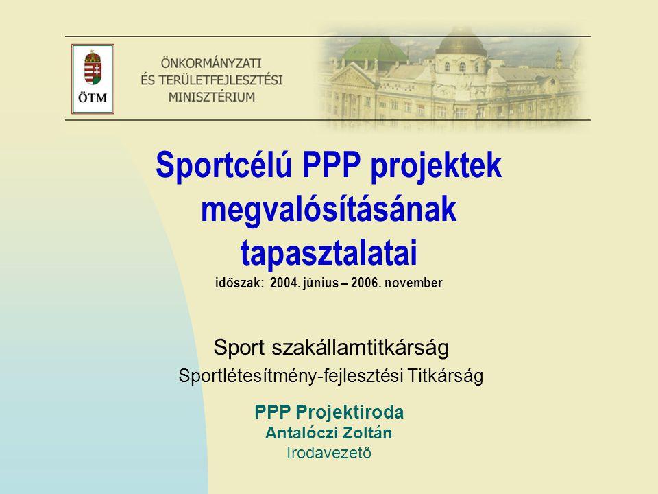 PPP Projektiroda Antalóczi Zoltán Irodavezető Sportcélú PPP projektek megvalósításának tapasztalatai időszak: 2004.