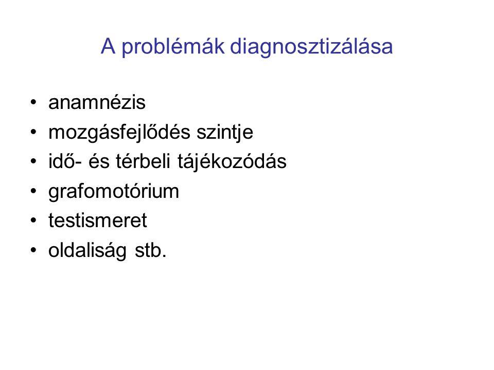 A problémák diagnosztizálása •anamnézis •mozgásfejlődés szintje •idő- és térbeli tájékozódás •grafomotórium •testismeret •oldaliság stb.