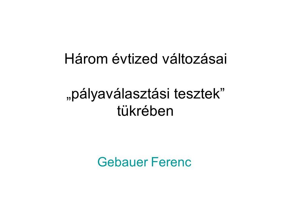 """Három évtized változásai """"pályaválasztási tesztek"""" tükrében Gebauer Ferenc"""