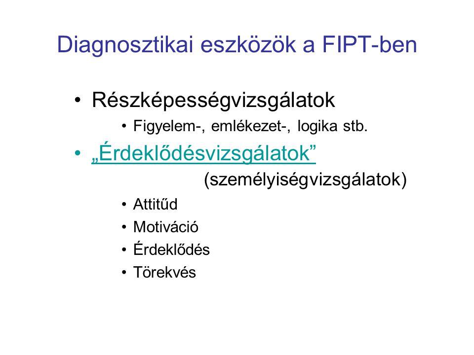 """Diagnosztikai eszközök a FIPT-ben •Részképességvizsgálatok •Figyelem-, emlékezet-, logika stb. •""""Érdeklődésvizsgálatok"""" (személyiségvizsgálatok) •Atti"""