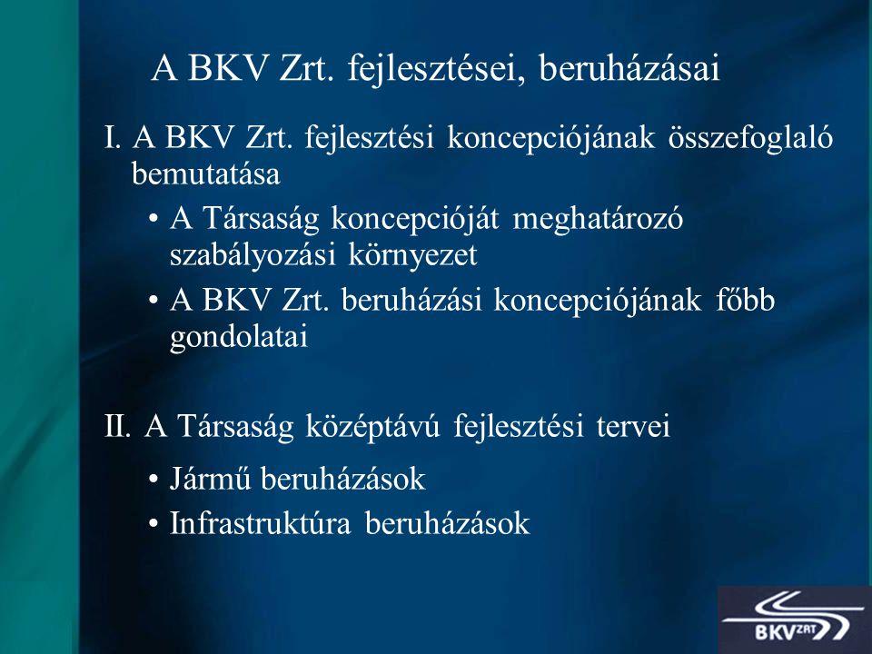 2 A BKV Zrt. fejlesztései, beruházásai I. A BKV Zrt.