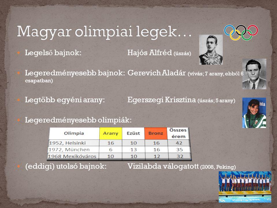  Legels ő bajnok:Hajós Alfréd (úszás)  Legeredményesebb bajnok:Gerevich Aladár (vívás; 7 arany, ebb ő l 6 csapatban)  Legtöbb egyéni arany:Egerszeg