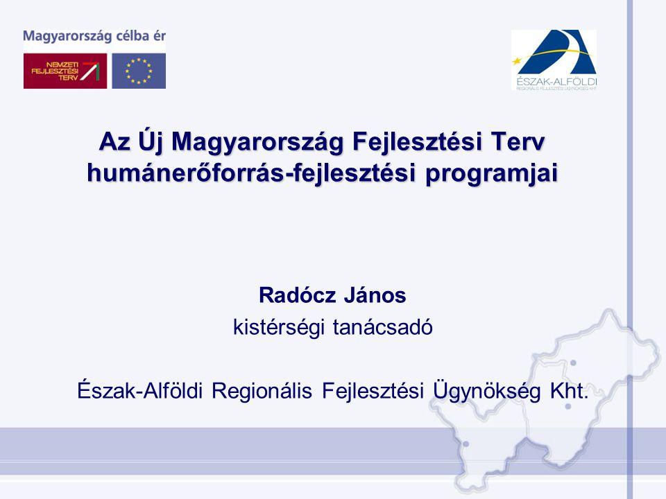 Radócz János kistérségi tanácsadó Észak-Alföldi Regionális Fejlesztési Ügynökség Kht. Az Új Magyarország Fejlesztési Terv humánerőforrás-fejlesztési p