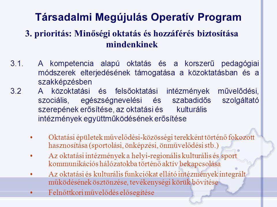 Társadalmi Megújulás Operatív Program 3. prioritás: Minőségi oktatás és hozzáférés biztosítása mindenkinek 3.1. A kompetencia alapú oktatás és a korsz