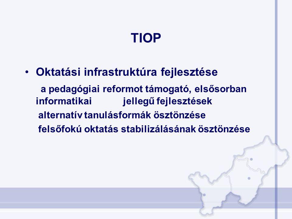 TIOP •Oktatási infrastruktúra fejlesztése a pedagógiai reformot támogató, elsősorban informatikai jellegű fejlesztések alternatív tanulásformák ösztön