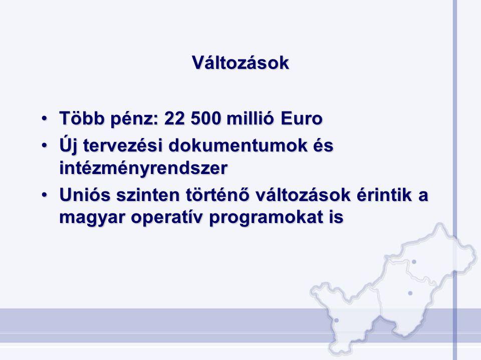 Változások •Több pénz: 22 500 millió Euro •Új tervezési dokumentumok és intézményrendszer •Uniós szinten történő változások érintik a magyar operatív