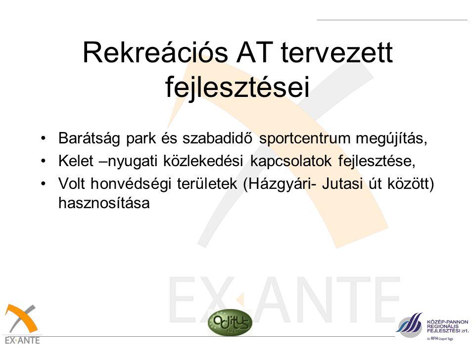 Rekreációs AT tervezett fejlesztései •Barátság park és szabadidő sportcentrum megújítás, •Kelet –nyugati közlekedési kapcsolatok fejlesztése, •Volt ho