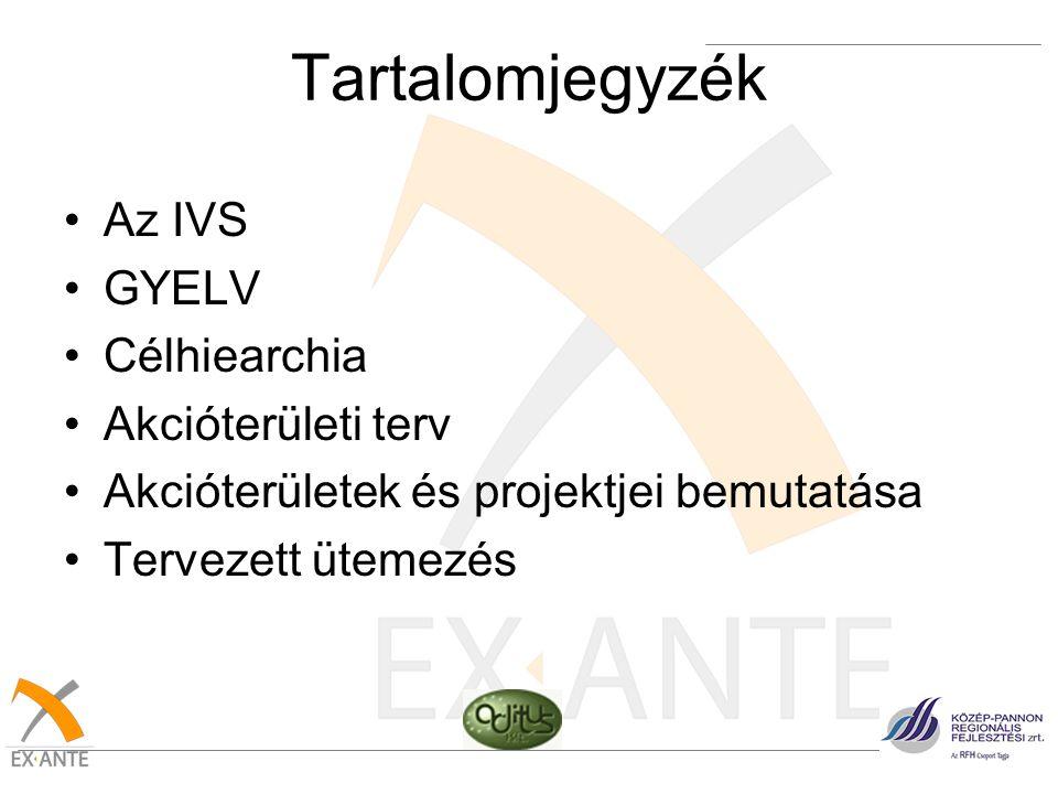 Tartalomjegyzék •Az IVS •GYELV •Célhiearchia •Akcióterületi terv •Akcióterületek és projektjei bemutatása •Tervezett ütemezés