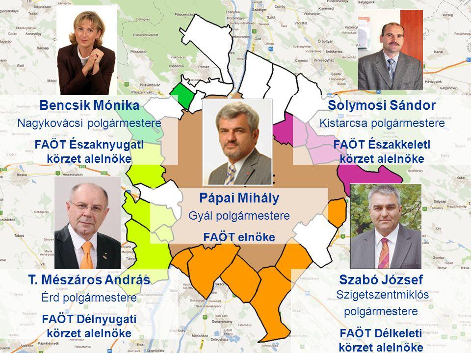 Bencsik Mónika Nagykovácsi polgármestere FAÖT Északnyugati körzet alelnöke Solymosi Sándor Kistarcsa polgármestere FAÖT Északkeleti körzet alelnöke T.