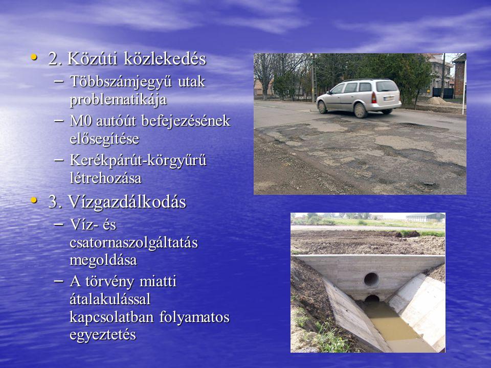 • 2. Közúti közlekedés – Többszámjegyű utak problematikája – M0 autóút befejezésének elősegítése – Kerékpárút-körgyűrű létrehozása • 3. Vízgazdálkodás