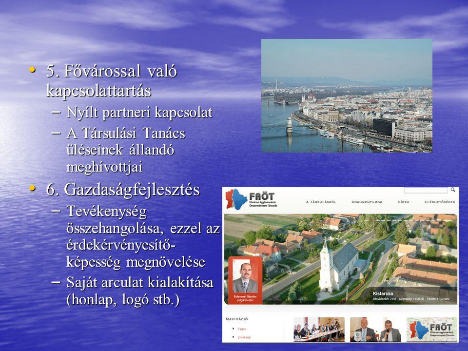 • 5. Fővárossal való kapcsolattartás – Nyílt partneri kapcsolat – A Társulási Tanács üléseinek állandó meghívottjai • 6. Gazdaságfejlesztés – Tevékeny