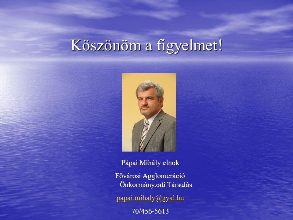 Köszönöm a figyelmet! Pápai Mihály elnök Fővárosi Agglomeráció Önkormányzati Társulás papai.mihaly@gyal.hu 70/456-5613