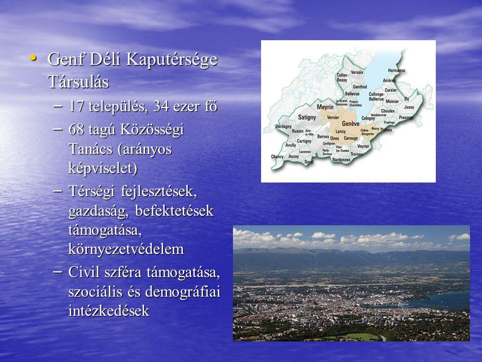 • Genf Déli Kaputérsége Társulás – 17 település, 34 ezer fő – 68 tagú Közösségi Tanács (arányos képviselet) – Térségi fejlesztések, gazdaság, befektet