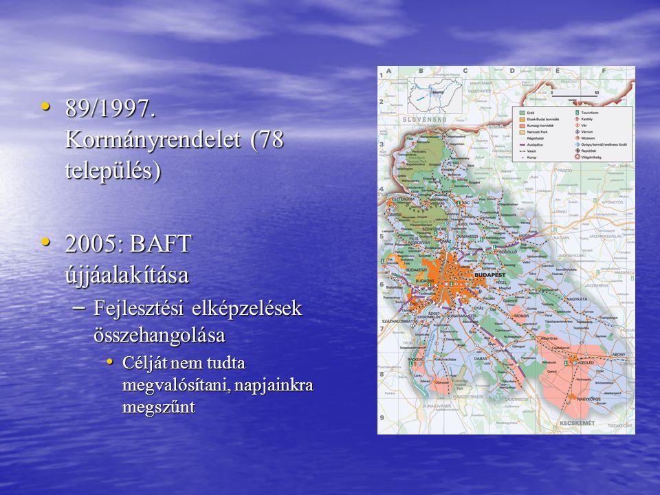 • 89/1997. Kormányrendelet (78 település) • 2005: BAFT újjáalakítása – Fejlesztési elképzelések összehangolása • Célját nem tudta megvalósítani, napja