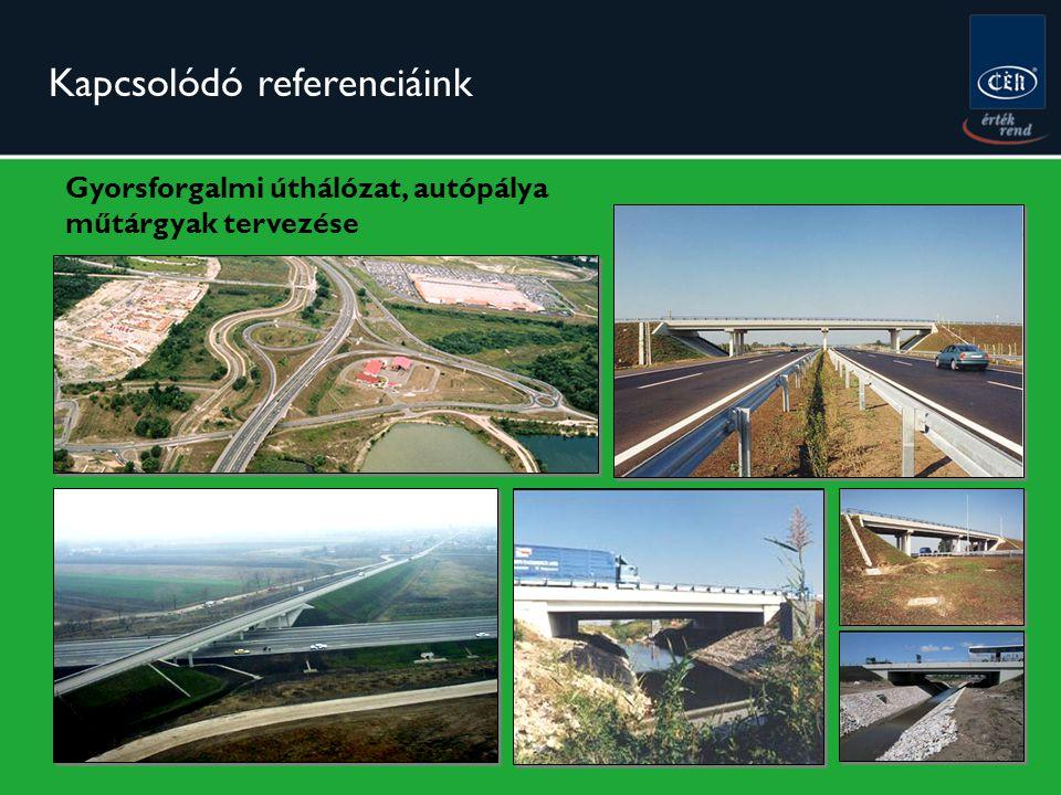Gyorsforgalmi úthálózat, autópálya műtárgyak tervezése Kapcsolódó referenciáink