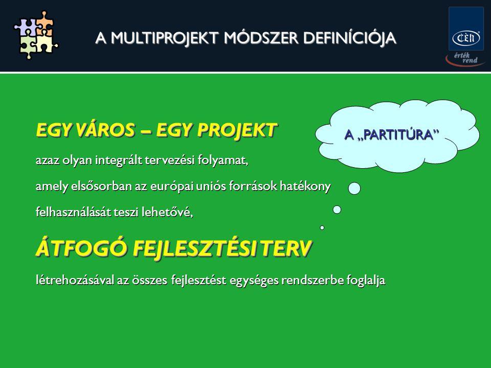 """A MULTIPROJEKT MÓDSZER DEFINÍCIÓJA EGY VÁROS – EGY PROJEKT azaz olyan integrált tervezési folyamat, amely elsősorban az európai uniós források hatékony felhasználását teszi lehetővé, ÁTFOGÓ FEJLESZTÉSI TERV létrehozásával az összes fejlesztést egységes rendszerbe foglalja EGY VÁROS – EGY PROJEKT azaz olyan integrált tervezési folyamat, amely elsősorban az európai uniós források hatékony felhasználását teszi lehetővé, ÁTFOGÓ FEJLESZTÉSI TERV létrehozásával az összes fejlesztést egységes rendszerbe foglalja A """"PARTITÚRA"""