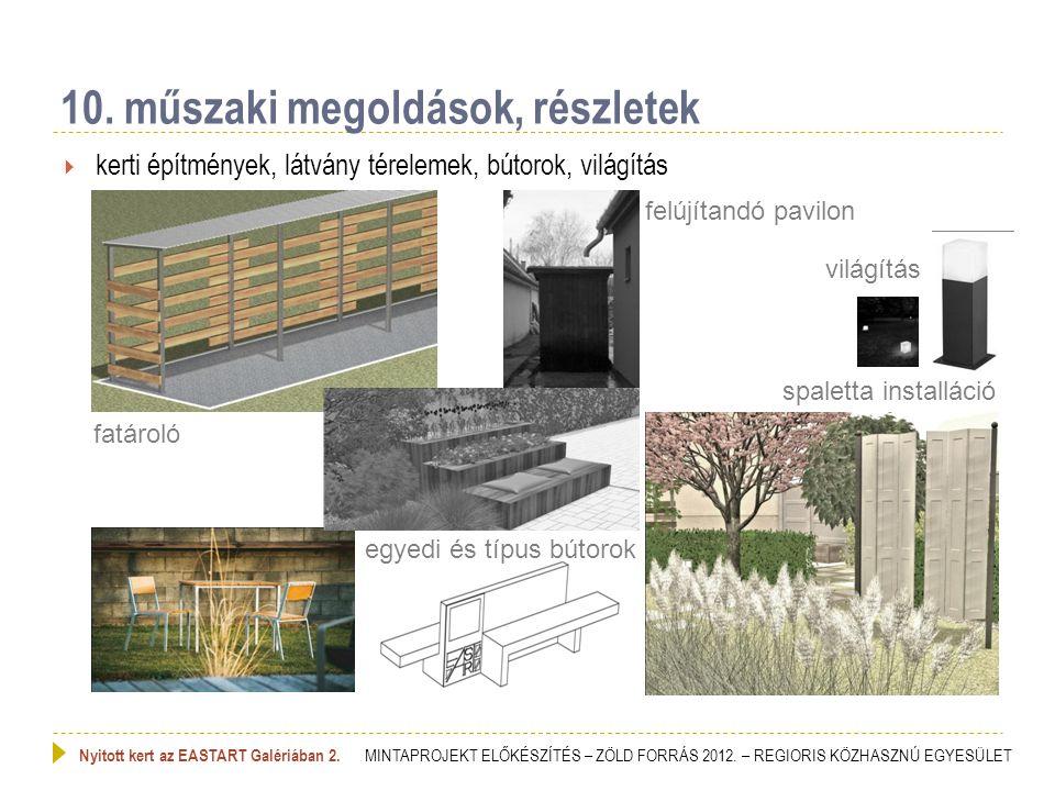  kerti építmények, látvány térelemek, bútorok, világítás 10. műszaki megoldások, részletek Nyitott kert az EASTART Galériában 2. MINTAPROJEKT ELŐKÉSZ