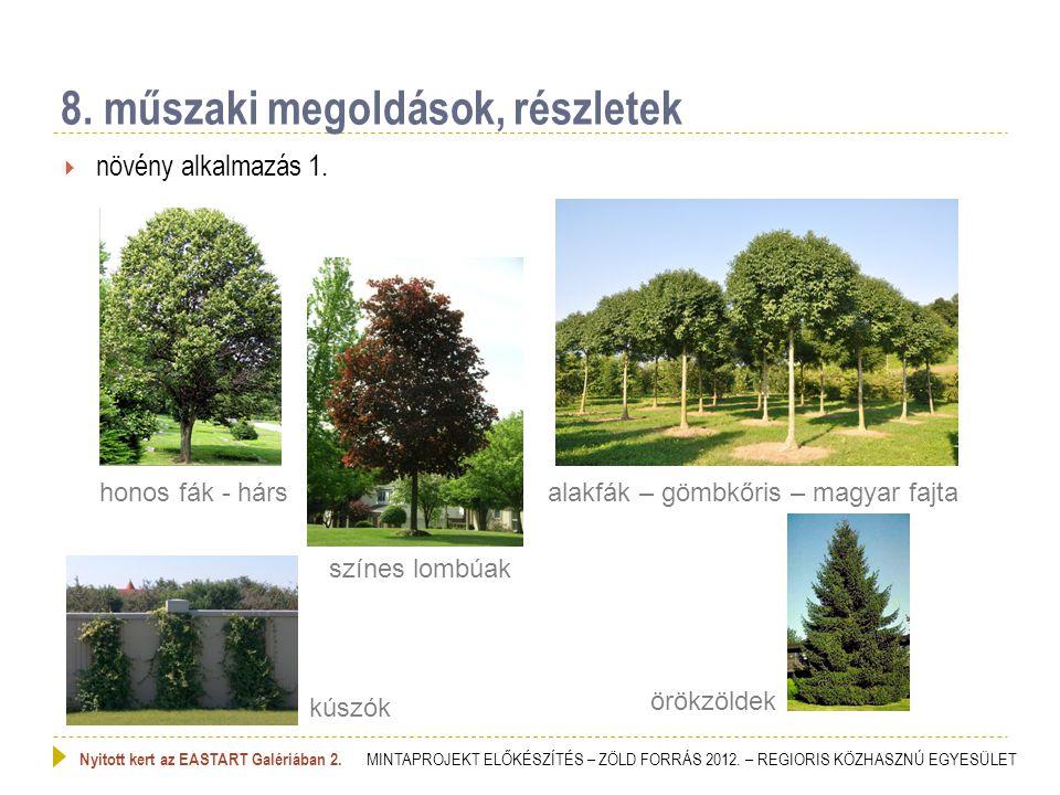  növény alkalmazás 1. 8. műszaki megoldások, részletek Nyitott kert az EASTART Galériában 2. MINTAPROJEKT ELŐKÉSZÍTÉS – ZÖLD FORRÁS 2012. – REGIORIS
