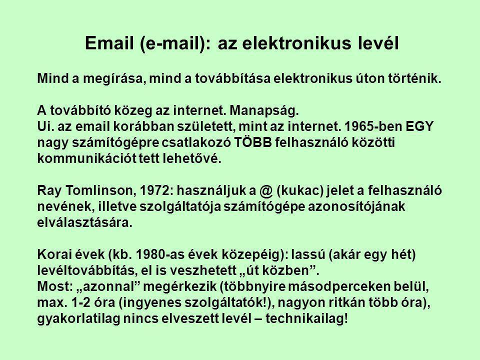 Email (e-mail): az elektronikus levél Mind a megírása, mind a továbbítása elektronikus úton történik.