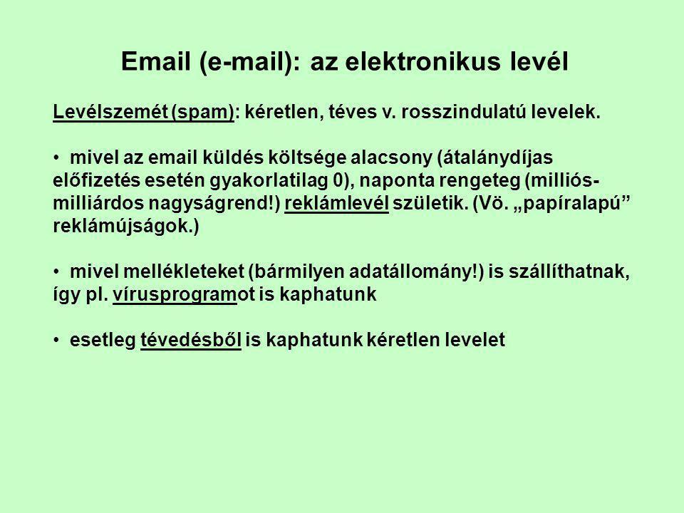 Email (e-mail): az elektronikus levél Levélszemét (spam): kéretlen, téves v.